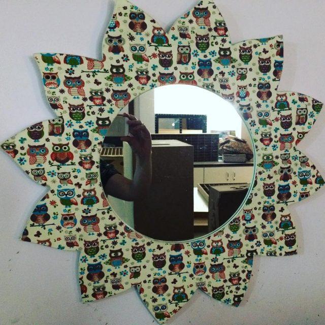 Espelho estilizado com papel de coruja! Lindo! artesanato artesanatosp artesanatobrhellip
